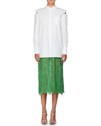 Valentino Long Sleeve Button Front Poplin Shirt With Attached Lace Skirt White Green