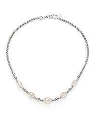 Majorica 8Mm 12Mm White Baroque Pearl Beaded Necklace Silver