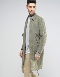 Asos Trench Coat With Parka Detail In Khaki Khaki Green