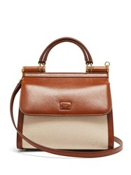 Dolce And Gabbana Sicily 58 Small Leather Canvas Bag Beige Multi