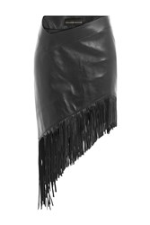 Alexandre Vauthier Asymmetric Fringed Leather Skirt Black