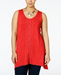 Nanette Lepore By Plus Size Embroidered Tank Top Only At Macy's Coral
