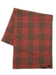 Massimo Piombo Virgin Wool Prince Of Wales Scarf Red Grey
