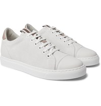 Brunello Cucinelli Leather Trimmed Brushed Suede Sneakers White