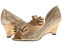 J. Renee Chrissy Gold Glam Fabric Women's Wedge Shoes