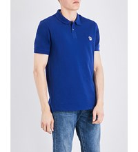 Paul Smith Ps By Zebra Embroidered Cotton Pique Polo Shirt Blue