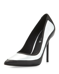 L.A.M.B. Bethel Iridescent Pointed Toe Pump Silver Black