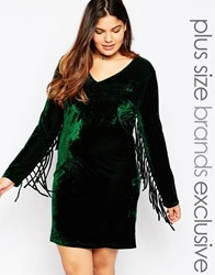 Alice And You Halloween Velvet Mini Shift Dress With Fringed Detail Forestgreen