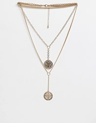 Missguided Multi Layered Coin Pendant Necklace Gold