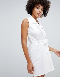 Missguided Sleeveless Tie Waist Dress In White
