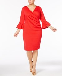 Betsy And Adam Plus Size Bell Sleeve Scuba Wrap Dress Red