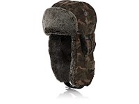 Crown Cap Camouflage Melton Trapper Hat Md. Green