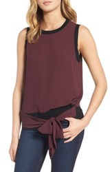 Trouve Women's Sleeveless Tie Front Top
