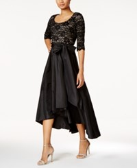 R And M Richards Petite Sequined Lace High Low Dress Black Taupe