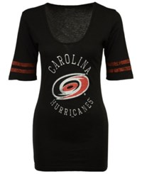 Retro Brand Women's Carolina Hurricanes Vintage Sleeve Stripe T Shirt Black