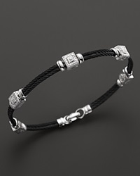 Charriol Celtic Noir 18K White Gold And Black Pvd Stainless Steel Nautical Cable Bracelet With Diamonds