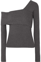 Beaufille Loretta Asymmetric Ribbed Stretch Knit Top Anthracite