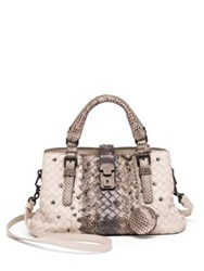 Bottega Veneta Roma Exotic Snakeskin And Intrecciato Leather Tote Grey