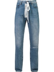 Off White Auction House Stonewashed Jeans Blue