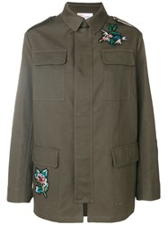 Red Valentino Falcon Embroidered Jacket Silk Cotton Polyester Viscose Green