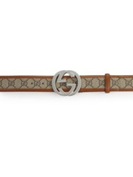 Gucci Interlocking G Buckle Belt Beige Ebony Ecru Grigio