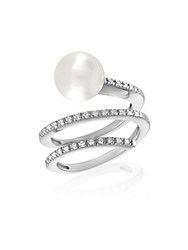 Majorica 10Mm White Organic Pearl And Crystal Spiral Ring
