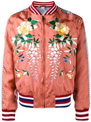 Gucci Floral Embroidered Bomber Jacket Yellow And Orange