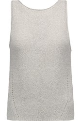 Enza Costa Pointelle Knit Cotton Blend Tank Light Gray
