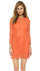 Cynthia Rowley Boho Lace Shift Dress Vermilion