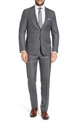 Hickey Freeman Classic B Fit Plaid Wool Suit Grey