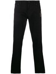 Dolce And Gabbana Low Rise Side Stripe Jeans Black