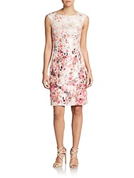 Kay Unger Abstract Floral Print Day Dress Blush Multi