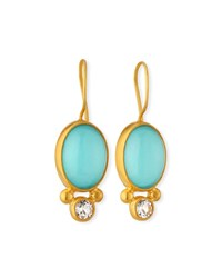 Dina Mackney Turquoise Doublet And Topaz Earrings