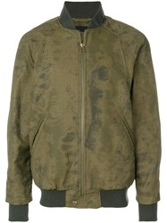 Mr And Mrs Italy Antique Effect Bomber Jacket Green