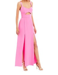 Nicole Miller New York Sleeveless Cutout Gown Bright Pink