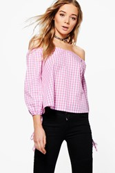 Boohoo Gingham Off The Shoulder Woven Top Pink