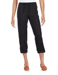 Lord And Taylor Roll Up Linen Pants Black