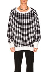 Haider Ackermann Houndstooth Oversized Sweater In Black Geometric Print White Black Geometric Print White