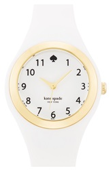 Kate Spade 'Rumsey' Plastic Strap Watch 30Mm White Gold