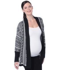 Wendy Bellissimo Maternity Open Front Cardigan Black White Aztec