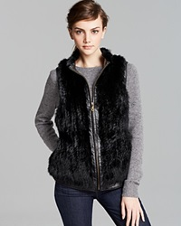 Surell Rabbit Fur Vest With Leather Trim Black