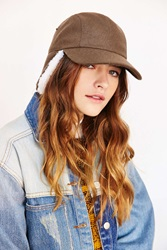 Urban Outfitters Sherpa Flap Baseball Hat Olive