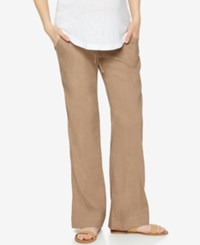 A Pea In The Pod Maternity Linen Blend Bootcut Pants Brown