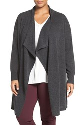 Halogenr Plus Size Women's Halogen Cashmere Long Open Front Cardigan Grey Dark Charcoal
