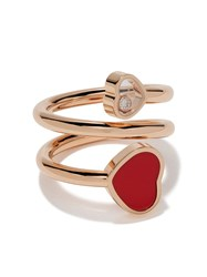 Chopard 18Kt Rose Gold Happy Hearts Diamond And Red Stone Ring