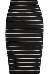 Enza Costa Striped Ribbed Jersey Skirt Black