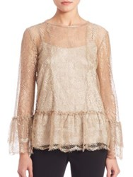 Alberta Ferretti Long Sleeve Lace Blouse Nude