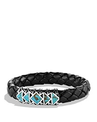 David Yurman Frontier Bracelet In Black With Turquoise Silver Turquoise
