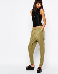 Monki Relaxed Hareem Tapered Pant Khaki