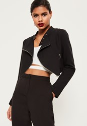 Missguided Black Zip Detail Buckle Neck Cropped Jacket